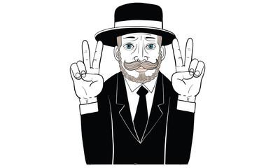 mustache man in black suit, action