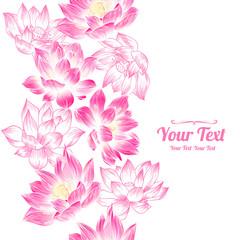 Vector pink  lotuses flowers vertical frame seamless pattern background . Invitation or greeting card design.Vector illustration