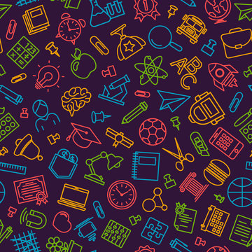 School pattern with modern thin line icons school supplies on dark background. Back To School Background. Vector illustration.