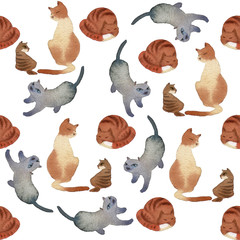 watercolor cats seamless pattern