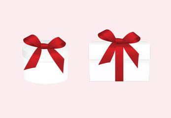 Set of Gift Box with Red Ribbon and Bow Isolated on a Background. Vector image.