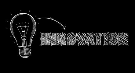 Hand-drawn lightbulb innovation concept