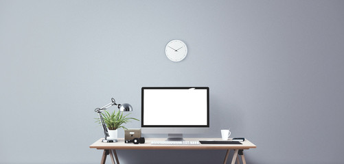 Computer display and office tools on desk. Desktop computer screen isolated. Modern creative workspace background. Front view Wall mural