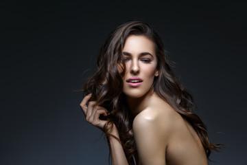 Beautiful girl with long heathy thick hair