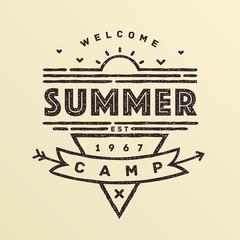Summer camping emblem in vintage style. Vector illustration.