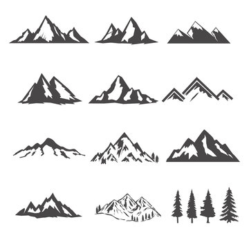 set of the mountains illustrations isolated on white background. Design elements for logo, label, emblem, sign, brand mark.