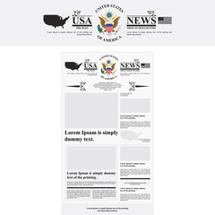 Layout American newspaper with the emblem of the United States. The template for the media. Flat vector illustration EPS 10.