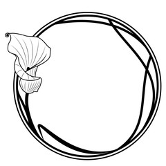 round frame with lily