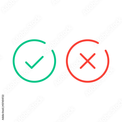 Thin Line Check Mark Icons Green Tick And Red Cross Checkmarks Flat