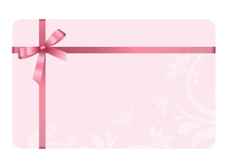 Search photos packagenew gift card with pink ribbon and a bow on pink background gift voucher template yadclub Image collections