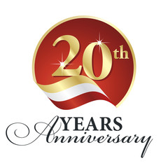 Anniversary 20 th years celebrating logo gold white red ribbon background