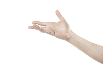 Man's hand isolated on white, open hand horizontal