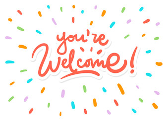 You are welcome vector lettering logo postcard splash