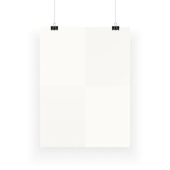 White vertical poster template hanging on clips, isolated on background. Poster realistic mokcup.
