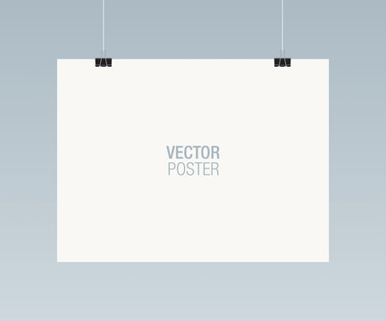 White horizontal poster template hanging on clips, isolated on background. Poster realistic mokcup.