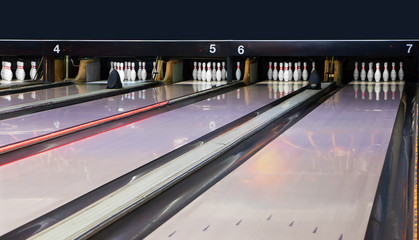 bowling alley with pins