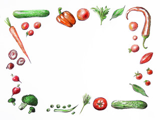 Hand drawn illustration. Frame of various vegetables isolated on