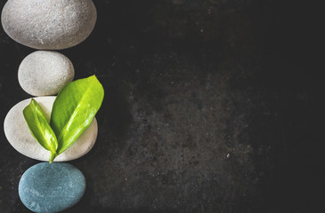 Stones and green leaves on black background. Nature or SPA  background