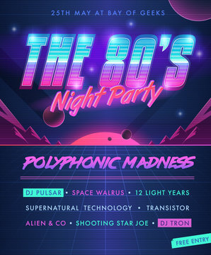 Party poster. The 80's Night Party.