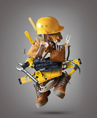 Construction tools with a shoes and a helmet