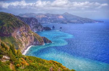 Lipari island, Italy, beautiful view on Vulcano island from Lipari island
