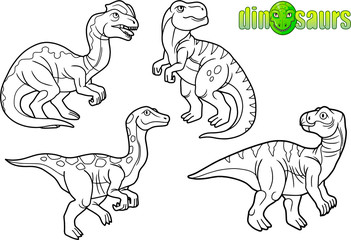 set of cartoon drawings of dinosaurs.