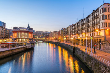 sunrise at ribera foodmarket in Bilbao, Spain