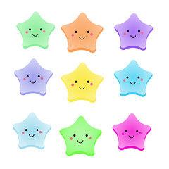 Cute kawaii stars. Isolated design elements for kids, babies and children design with smiling sky characters