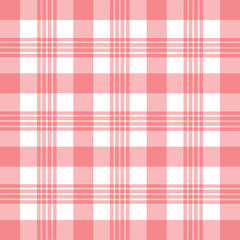 Vector illustration. Pink and white gingham pattern