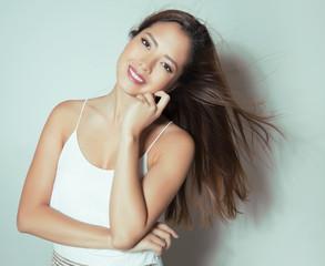 beautiful young asian woman with long hair
