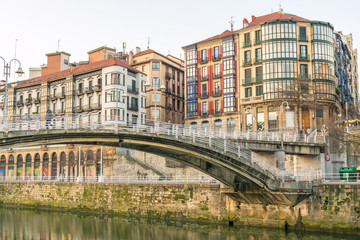 reflections at vintage Bilbao houses, Spain