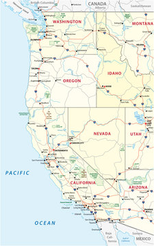 Roads, political and administrative map of the Western United States of America with National Parks