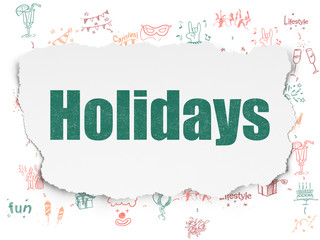 Holiday concept: Holidays on Torn Paper background