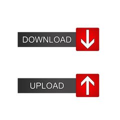 download and Upload Button grey black and red icon