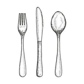cutlery set sketch. Spoon fork and knife vector illustration isolated