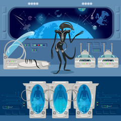 Alien monster in a spaceship. Astronauts in cryogenic cameras, interior of the interstellar ship