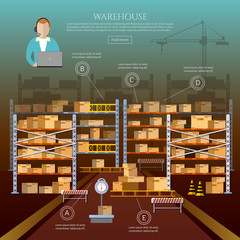 Warehouse interior box on rack and warehouse building. 24 hour, logistic and delivery
