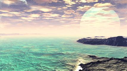 Landscape of stranger planet. 3D rendering