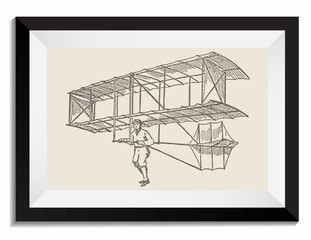 Vintage Retro Vector Drawing Illustration of a Technology Transport Plane in a Frame. Perfect for Web Design, Shirts, Scrapbooking, Logos, Badges. Great as a Graphic Ressource for Illustration Work.