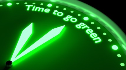 Time to go green glowing clock environmental protection concept