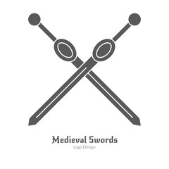 Medieval logo emblem template. Single logo, modern black simple style isolated on white background. Medieval theme silhouette symbol. Simple medieval pictogram logotype template. Vector illustration.