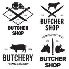 Set of butchery logo templates. Butchery labels with sample text. Butchery design elements and farm animals silhouettes.