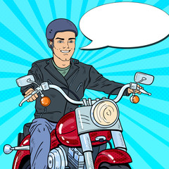 Pop Art Man Biker Riding a Chopper. Vector illustration