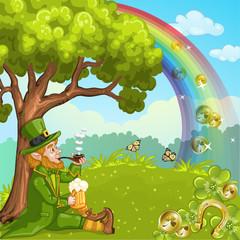 Cute Irish Leprechaun relax under the tree