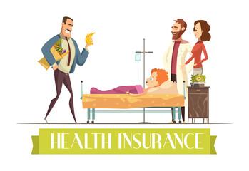 Heath Insurance Agent Work Cartoon Illustration