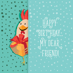 Funny card with a rooster in cartoon style.