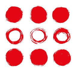 color vector brush strokes circles of paint on white background