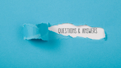 Questions and answers message on Paper torn ripped opening