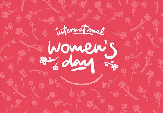 International womens day lettering vector logo postcard