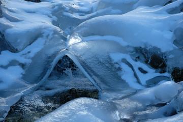 ruscello di montagna ghiacciato
